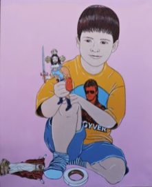 MacGyver acrylic on canvas, 47.2″x37.7″