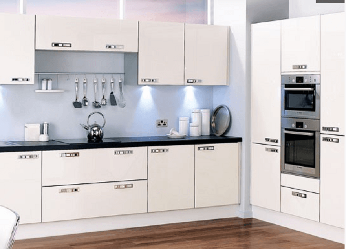 All White L Shaped Kitchen Design