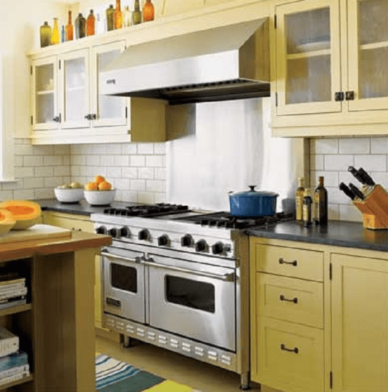 Curry Inspired Color Yellow Kitchen Cabinets