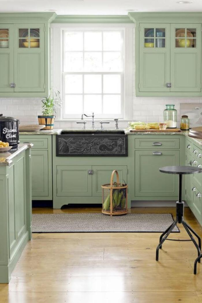Green Kitchen Cabinets With Black Countertops