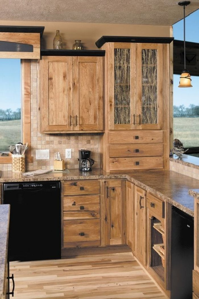 rustic kitchen design. Hickory Cabinets Rustic Kitchen Design Ideas Wood Flooring Pendant Lights 15 Designs With Photo Gallery
