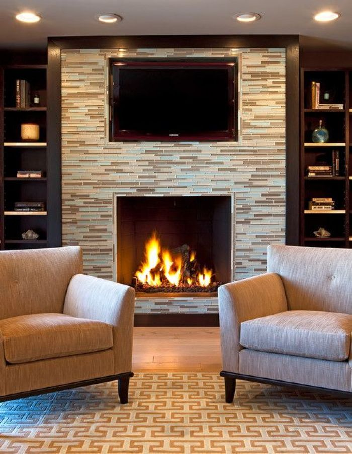Basement Home Theater with Fireplace