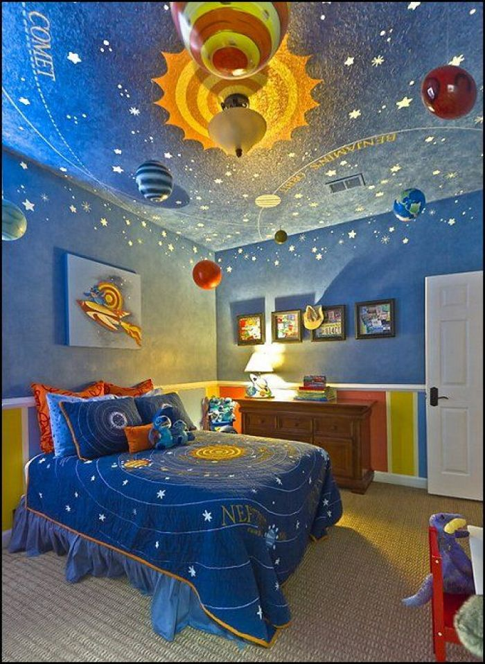 space themed kids bedroom