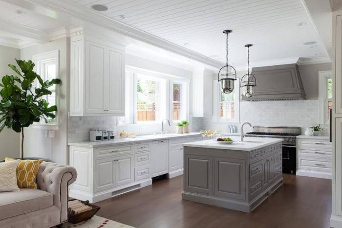two tone kitchen cabinets gray and white