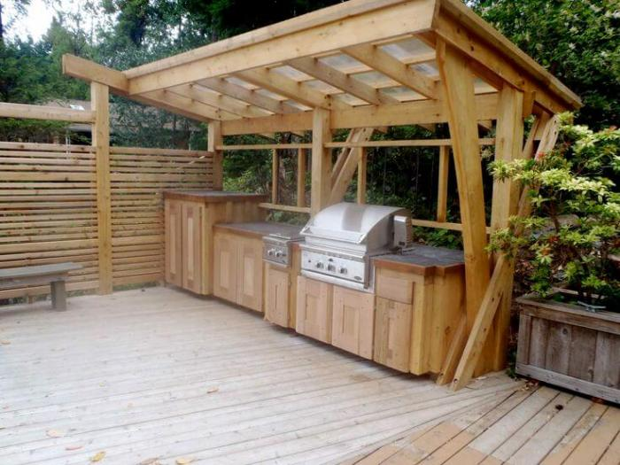 wood outdoor kitchen ideas