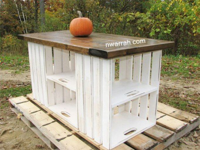 Wooden Crate Kitchen Island