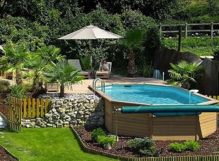 Above Ground Pool Ideas for Tropical Backyard