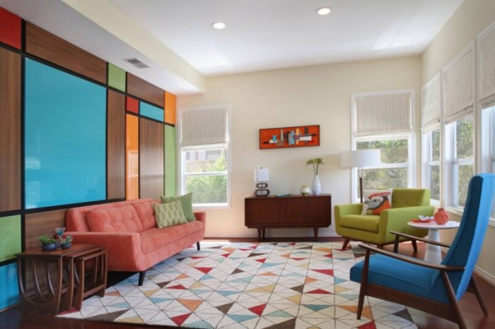 Colorful Mid Century Modern Living Room
