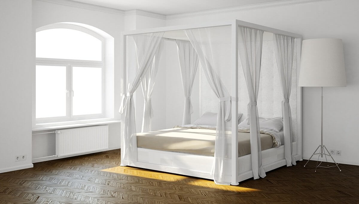 15 canopy bed curtains that might suit your fancy reverb - Four poster bed curtains ...