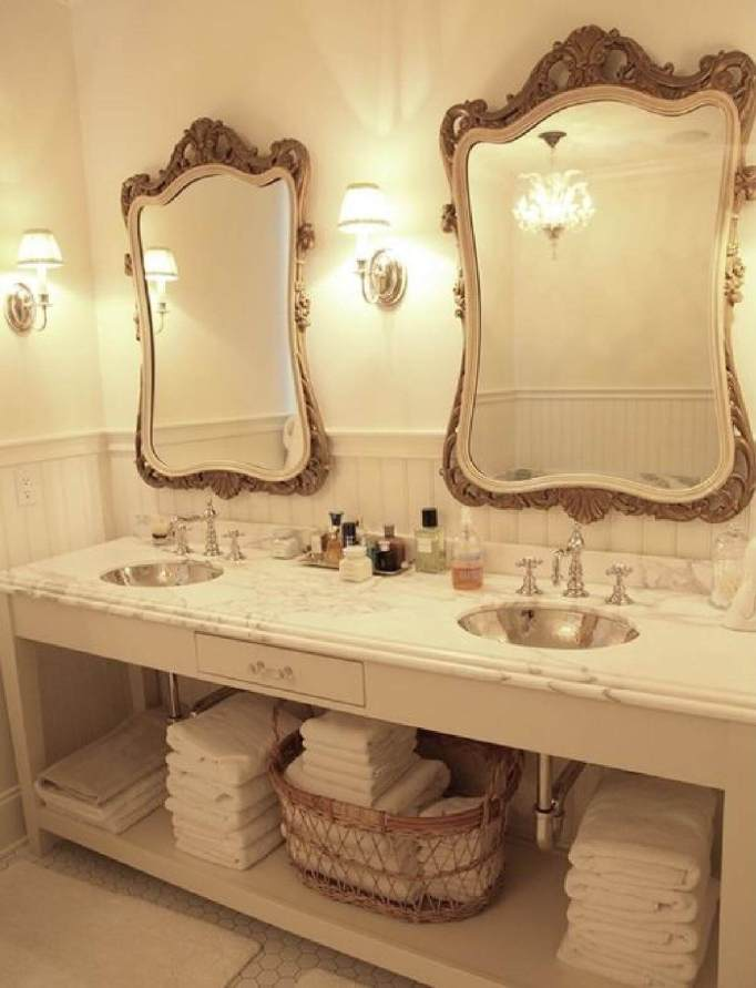 Bathroom with Double Metal Sinks