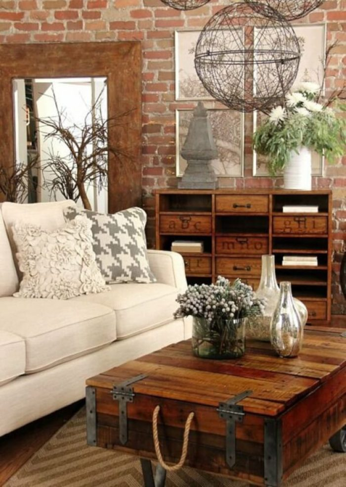 rustic look living room