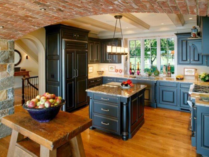 antique blue kitchen cabinets