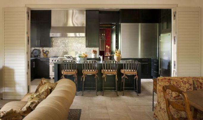 high gloss black kitchen cabinets