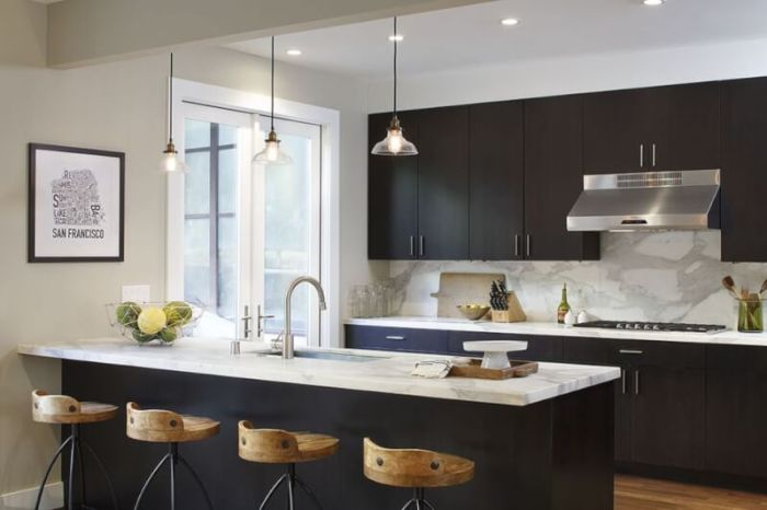 flat black kitchen cabinets