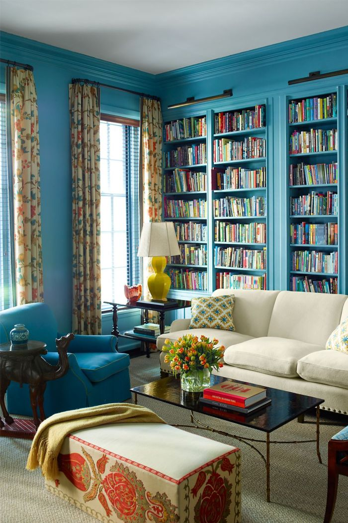blue and brown living room curtains