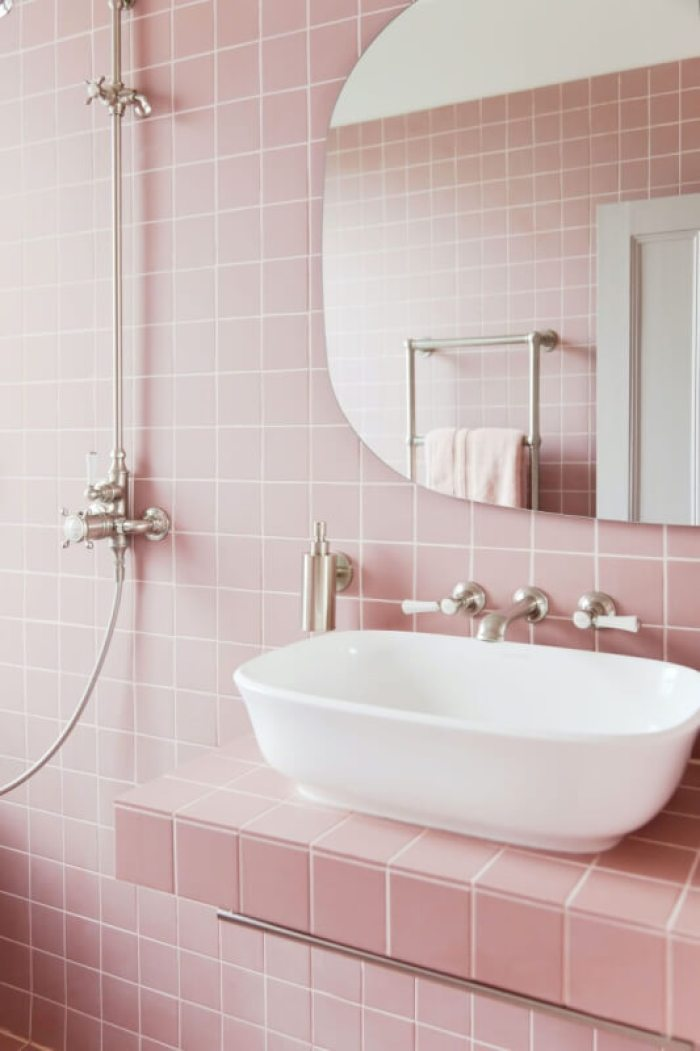 pink bathroom accessories set