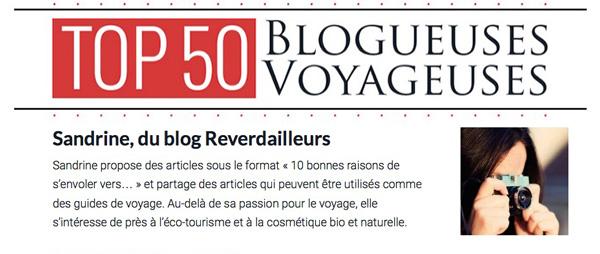 TOP50 Blogueuse Voyageuse