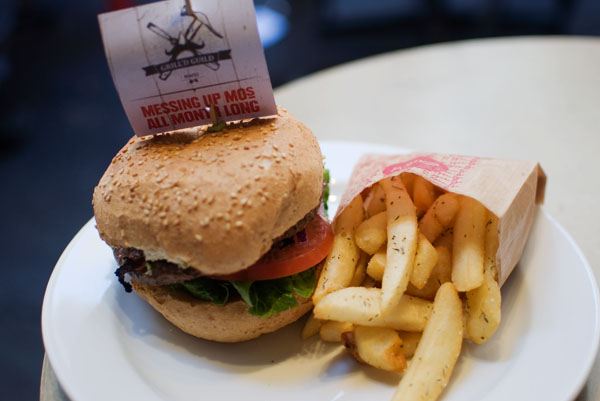 Lamb burger with Tasty cheese at Grill'd Melbourne