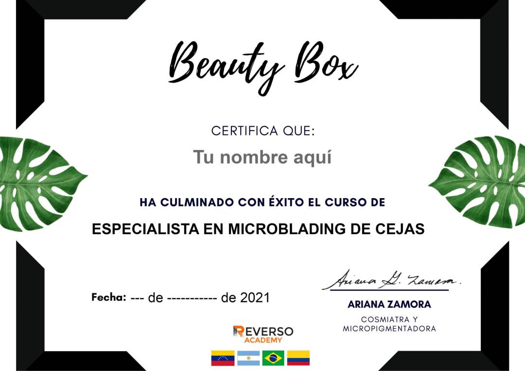 certificado beauty box - Reverso Academy