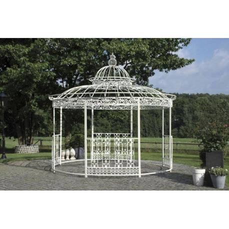 grande tonnelle kiosque de jardin pergola abris rond kiosque en fer forge et fonte blanc 340x370x370cm