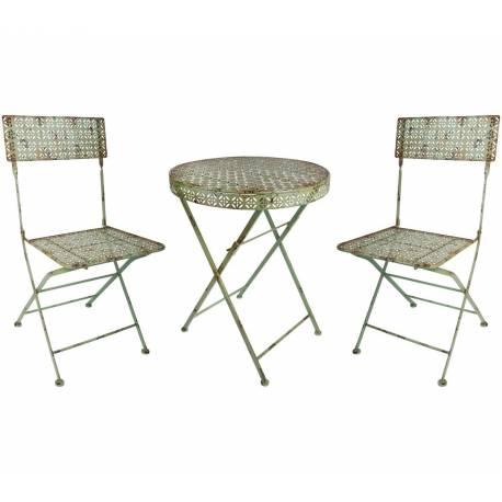 salon de jardin salon de the 2 places personnes table bistrot et 2 chaises pliantes en fer vert antique