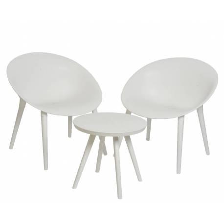 salon de jardin moderne salon de the 2 places personnes contemporain table bistrot et 2 chaises en pvc blanc