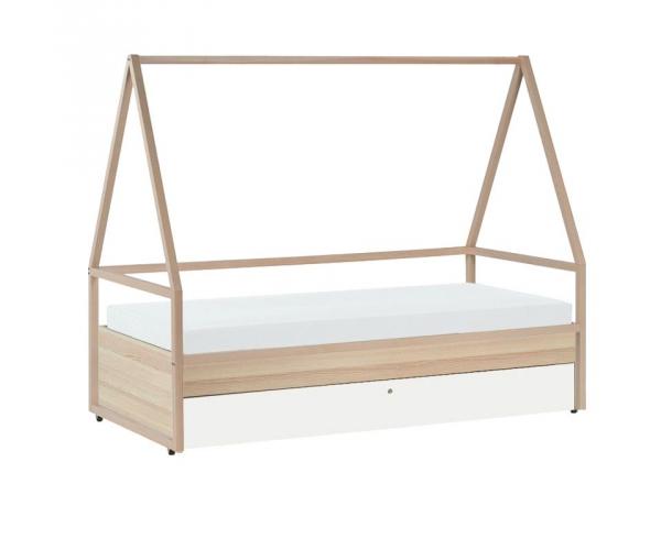 combine lit cabane tipi lit enfant 90 x 200 spot avec lit gigogne