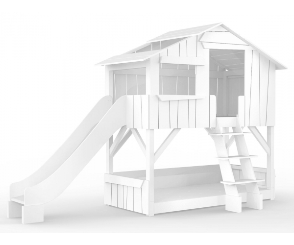 lit cabane superpose avec toboggan mathy by bols 90x190 cm blanc