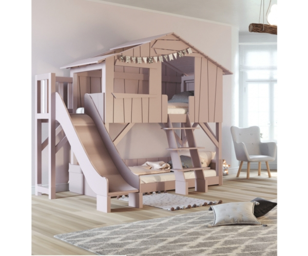 treehouse bunk bed and slide with plateform 90 x 190 cm by mathy by bols winter pink