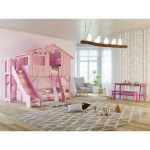 Treehouse Bunk Bed With Slide And Plateform By Mathy By Bols In Pink