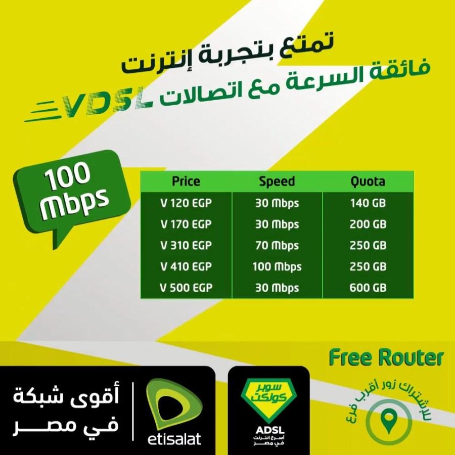 تفاصيل باقات الانترنت المنزلي الجديدة Vdsl من اتصالات مصر