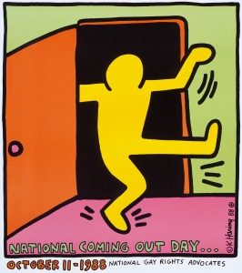 """Keith Haring: """"National Coming Out Day"""" (Offsetlithographie, 1988 / Copyright Keith Haring Foundation, Fotografie Museum für Kunst und Gewerbe Hamburg)"""