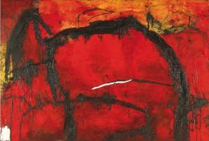 """Emil Schumacher """"Temun"""" (1987), Öl auf Holz (Emil Schumacher Stiftung, Hagen / © VG Bild-Kunst, Bonn 2012 / Emil Schumacher)"""