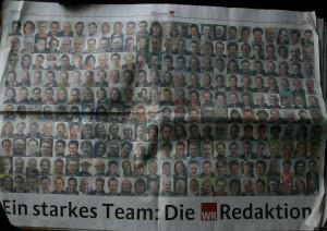 Aus besseren Zeiten: Beilage zum 60jährigen Bestehen der Westfälischen Rundschau am 20.3.2006 - Doppelseite mit Porträts der damaligen WR-Redaktionsmitglieder.