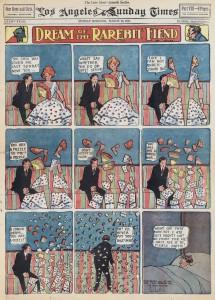 """Bildfolge aus """"Dream of the Rarebit Fiend"""", 1913: Der Mann sagt, die Frau sei ihm ein Rätsel (""""puzzle"""") - und schon löst sie sich in lauter Puzzleteile auf. (Bild: Katalog)"""