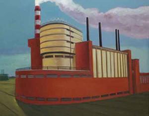 "Walter Eislers Fabrikbild ""Krasnaja Snamija"", 2009, Öl auf Leinwand (© Walter Eisler/Foto: Lars Wiedemann)"