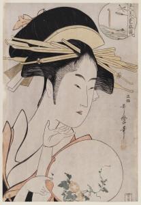 """Kitagawa Utamaro: """"Die Kurtisane Kisegawa aus dem Matsubaya"""". Mehrfarbiger Holzschnitt, (© Staatliche Museen zu Berlin, Museum für Asiatische Kunst)"""