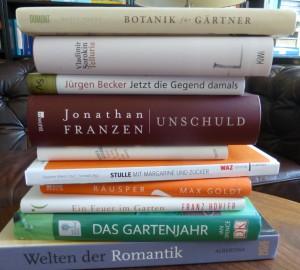 Beileibe keine Stapelware, doch stapelbar: die hier vorgestellten Bücher, unterschiedslos aufgetürmt. (Foto: Bernd Berke)