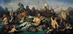 """Der """"Vater Rhein"""" in seinem Bett, umgeben von Städten und Nebenflüssen - so malte es 1848 Moritz von Schwind. (Foto: Raczynski-Stiftung, Poznan)"""