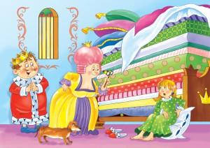"""Illustration zu Andersens Märchen """"Die Prinzessin auf der Erbse"""". (© Fotolia)"""