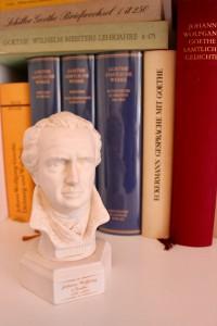 Kann auch keine Auskunft geben: die kleine Goethe-Büste im Regal. (Foto: Bernd Berke)