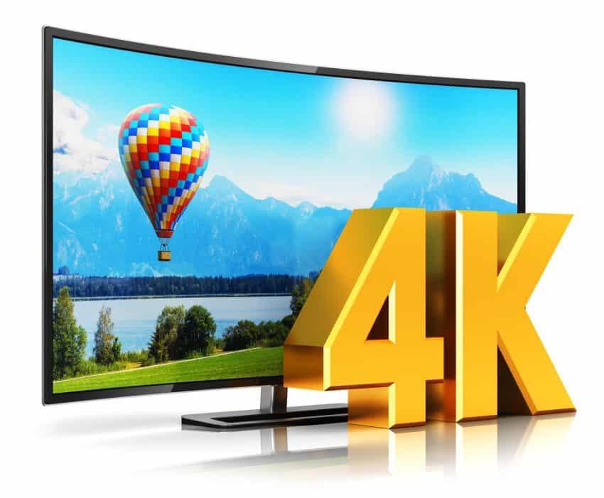 imagem de uma tv 4k curvada com imagem ultra hd na tela