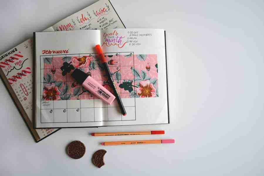 Imagem de um Bullet Journal com canetas.