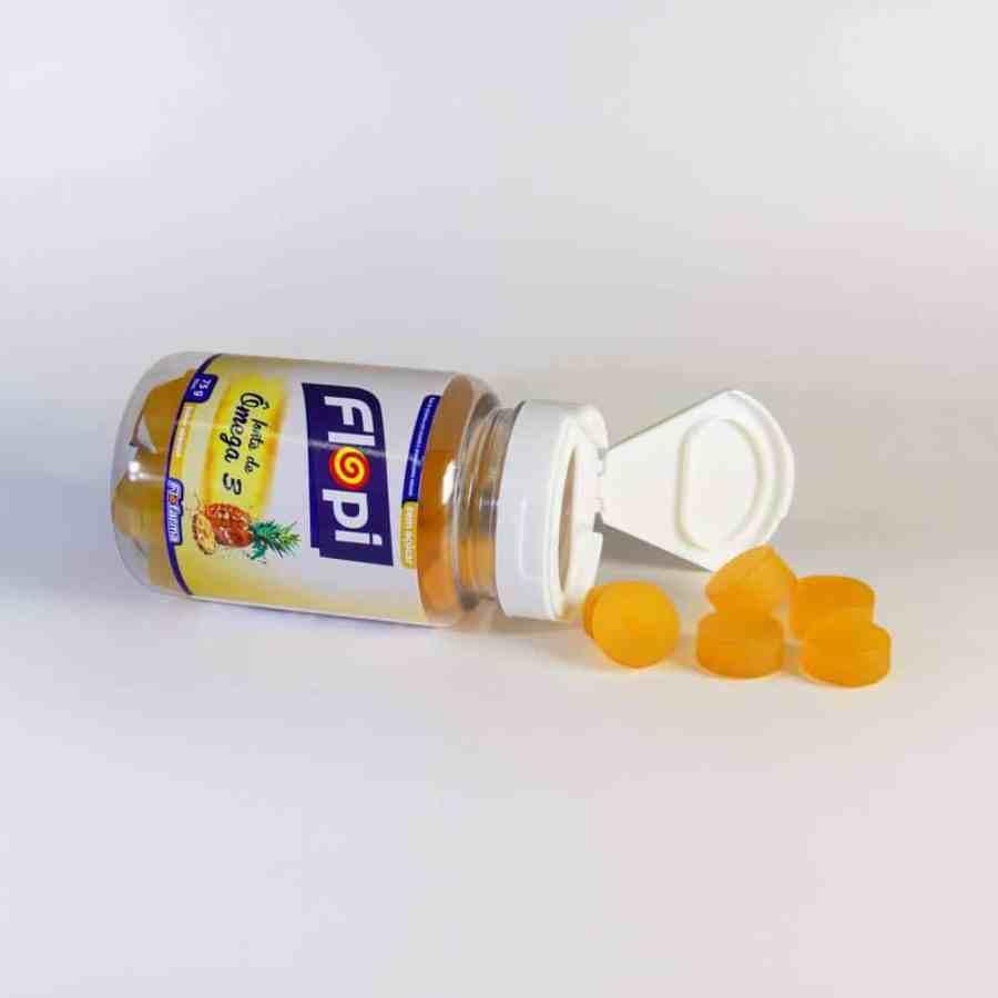 Imagem de um frasco com bala de goma de ômega.