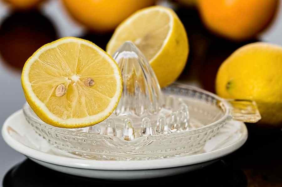Espremedor de vidro, sobre pirex braço, e com pedaços cortados de limão siciliano ao redor.