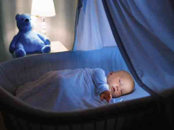 Bebê dormindo em mini berço com mosquiteiro.