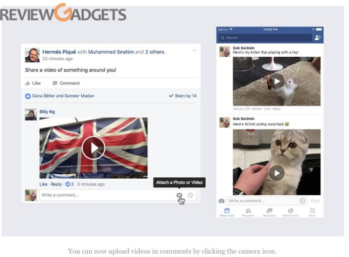 Facebook Comments Can Now Include Video