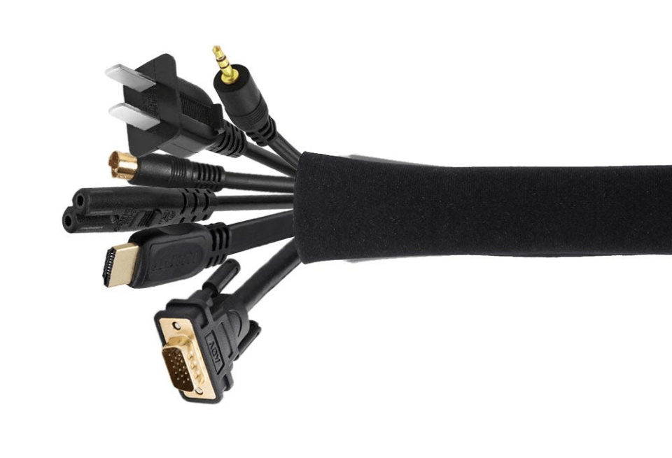 This neoprene cable sleeve tidies up any power or data cable bundle.