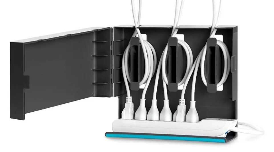 The Quirky Plug Hub is an elecgant way to store both a power strip and excess cord lengths.