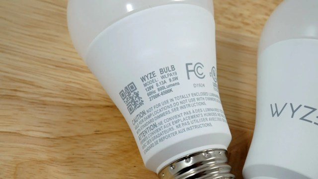 Back of a Wyze bulb, sitting on a table.